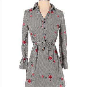 Blush size small black striped flirty floral dress